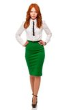 Businesswoman wearing green skirt Royalty Free Stock Photo