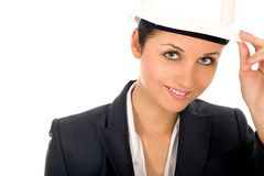 Businesswoman wearing hardhat Stock Photo
