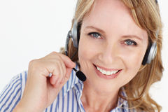 Businesswoman wearing headset Stock Photography
