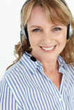 Businesswoman wearing headset Stock Photos