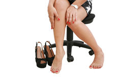 Businesswoman wearing high heels shoes Stock Image
