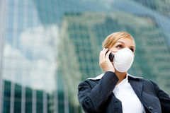 Businesswoman Wearing Mask Stock Photo