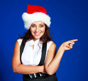 Businesswoman wearing a Santa's hat Royalty Free Stock Photos