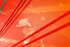 Businesswoman wearing virtual reality headset royalty free stock photos