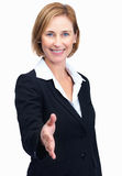 Businesswoman with welcome gesture Royalty Free Stock Photography