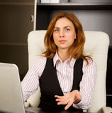 Businesswoman welcome gesture Stock Images