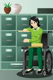Businesswoman in wheelchair working in the office, filing files Stock Images