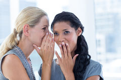 Businesswoman whispering gossip to her colleague Royalty Free Stock Image