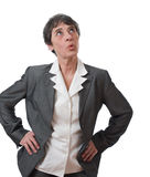 Businesswoman whistling Royalty Free Stock Image