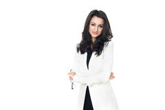 Businesswoman on white background. Businesswoman isolated  on a white background with glasess Royalty Free Stock Photography