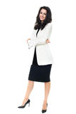 Businesswoman on white background. Businesswoman isolated on a white background with glasses Stock Photos