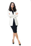 Businesswoman on white background. Businesswoman isolated  on a white background with glasses Stock Photo