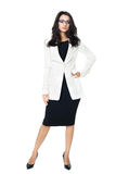 Businesswoman on white background. Businesswoman isolated  on a white background with glasses Royalty Free Stock Photography
