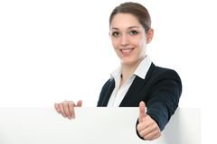 Businesswoman with white billboard sign Royalty Free Stock Images