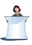 Businesswoman with white blank banner Stock Photography