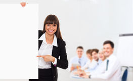 Businesswoman white board Royalty Free Stock Image