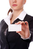 Businesswoman with white card Royalty Free Stock Images