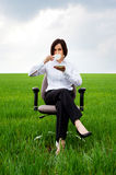 Businesswoman with white cup of coffee Royalty Free Stock Photography