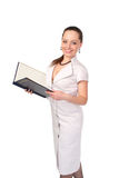 Businesswoman in white dress Royalty Free Stock Images