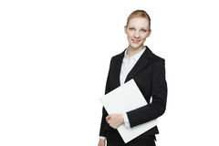 Businesswoman with white folder Royalty Free Stock Images