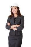 Businesswoman in white helmet Royalty Free Stock Image