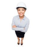 Businesswoman in white helmet Royalty Free Stock Photos