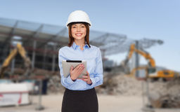 Businesswoman in white helmet Royalty Free Stock Photo