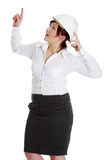 Businesswoman in white helmet pointing up Royalty Free Stock Photos