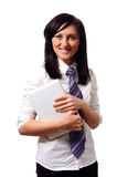 Businesswoman with white netbook Stock Image