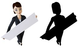 Businesswoman and white panel Royalty Free Stock Photos