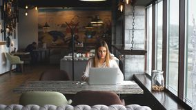 Businesswoman typing on a laptop sitting in a cafe by the window stock video footage