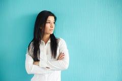 Businesswoman in white shirt Royalty Free Stock Photos