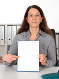 Businesswoman with white signboard Stock Photos