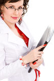 Businesswoman in a white suit Stock Image