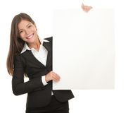 Businesswoman whiteboard sign Royalty Free Stock Images