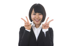 Businesswoman who is pleased Royalty Free Stock Photos