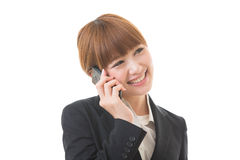 Businesswoman who talks on the tele Stock Photography