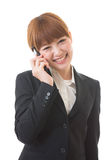 Businesswoman who talks on the tele Stock Images