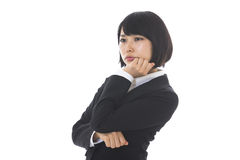 Businesswoman who is in trouble Royalty Free Stock Image