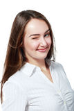 Businesswoman winks Royalty Free Stock Image