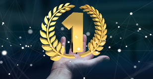 Businesswoman winning the first golden price 3D rendering. Businesswoman on blurred background winning the first golden price 3D rendering Royalty Free Stock Image