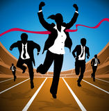 Businesswoman wins the Race. Illustration of a Businesswoman winning a race against a group of Businessmen depicted as silhouettes vector illustration