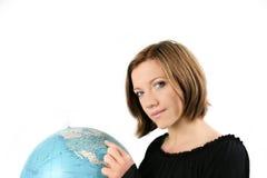 Businesswoman With A Globe Stock Photo