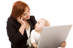 Businesswoman With Baby Stock Photo