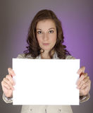 Businesswoman With Blank Sign Stock Photo