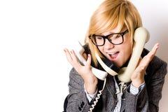 Businesswoman With Three Phones Stock Photo