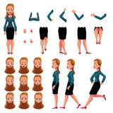 Businesswoman, woman character creation set with different poses, gestures, faces Royalty Free Stock Photo