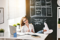 Businesswoman woman with computer and mobile phone Royalty Free Stock Photography