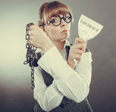 Businesswoman woman ending breaking contract. Stock Photography