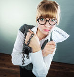 Businesswoman woman ending breaking contract. Royalty Free Stock Photo